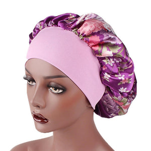 Women Sleep Cap Night Beauty Salon Bonnet Satin Cover Hair Bonnet Hat Silk Head Wide Elastic Band Curly Springy Hair Chemo Cap