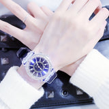 Glow in the dark personalized water diamond led original home Korean fashion trend male and female student couple jelly quartz watch