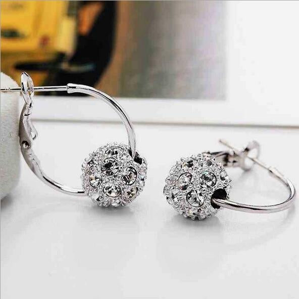 925 Anti Allergy Silver Needle Fashion Luxury Round Diamond Earrings for Women's Jewelry Gifts