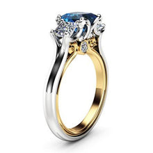 Load image into Gallery viewer, 14K Gold Diamond Sapphire Wedding Ring Jewelry for Women Ladies Party Wedding Jewelry Anniversary Gift