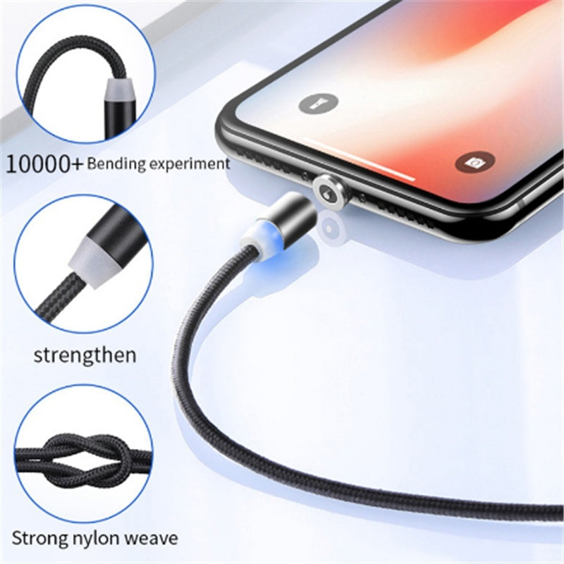 Magnetic USB Cable for iPhone 11 XS XR X 8 7 6S Plus 5 5S SE Type C Fast Charging Charger Data Cable Mobile Phone Cable for Samsung