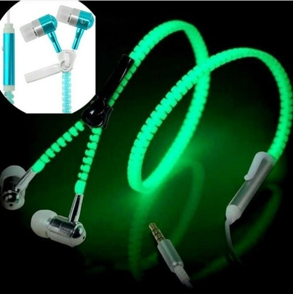3.5mm In-ear Stereo Bass Luminous Earphones Headphones Night Light Glowing Zipper Headset Glow In The Dark
