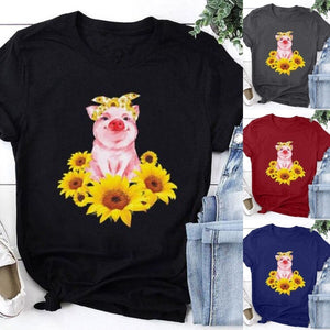New Summer Fashion Women Cute Cartoon Pig Pattern Short Sleeve Shirt Casual Ladies Fashion Sunflower Printed T-shirt Top XS-5XL