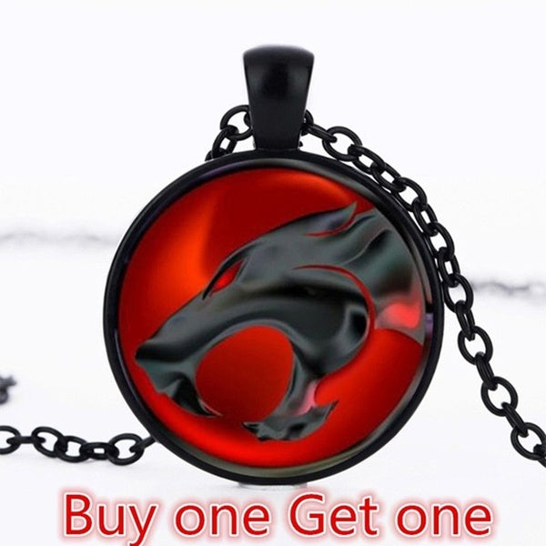 Buy One Get One Red & Black Thundercats Cabochon Glass Pendant Chain Necklace Steampunk Jewelry Color  Tibet Silver  Black