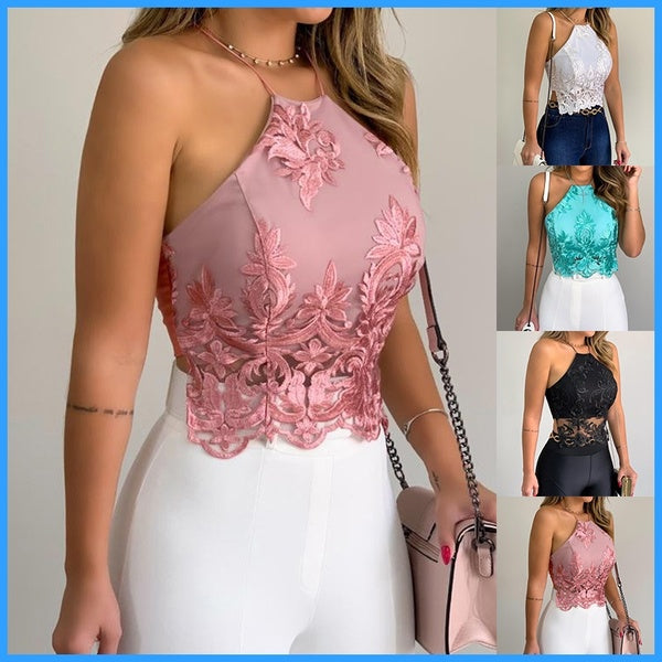 2020 New Women's Fashion Sleeveless Backless Lace Sexy Tank Tops Casual Club Clothes