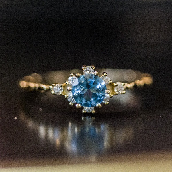 Women Dainty Seablue Sapphire Gemstone Diamond 18k Gold Rings Wedding Engagement Courtship Ring Accessories