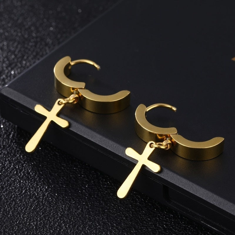 Personalized Simple Exquisite Polished Cross Earrings Fashion Personality Punk Jewelry Gift Men's Fashion Personality Temperament Earrings Metal Silver Ring Pendant Drop Ear Stud Earrings Women's Earrings