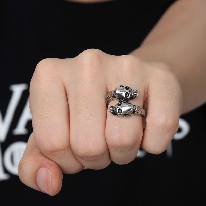 925 Silver Supreme Dragon Head Skull Octopus Open Ring Ring Men's Domineering Retro Punk Personality Jewelry
