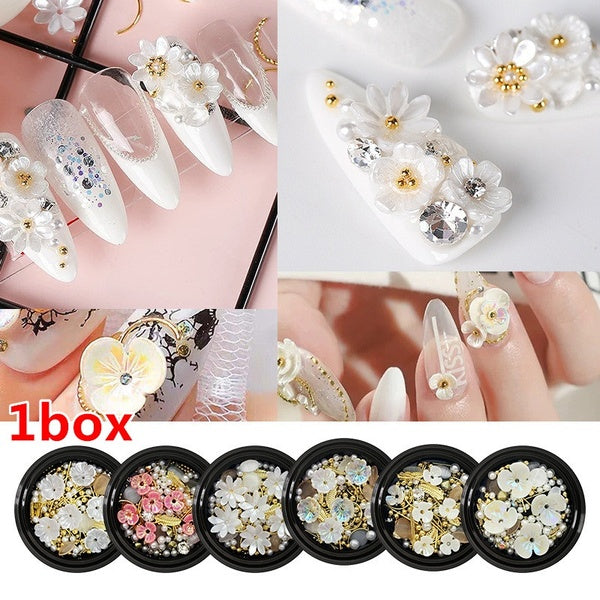 1 Box Shell Flower Jewelry Decoration Jewelry Mixed Irregular Beads Nail Manicure Art Decoration Nail Art Tools