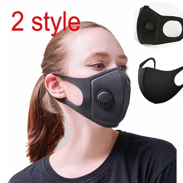 2 styles Anti Pollution Mask PM2.5 Air Dust Face Masks Washable and Reusable Mouth Cover Dust Proof Respirator Safety Mask with Breath Valve Made for Men Women Outdoor Activities