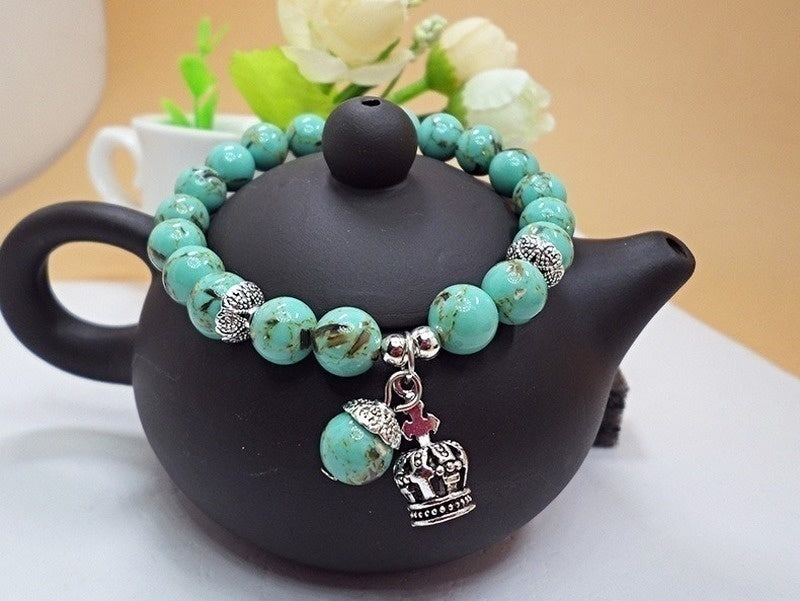 Natural Crystal Bracelet Baker Turquoise Bracelet Female National Style Fashion Handmade Beaded Single Circle Bead Bracelet