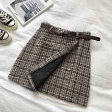将图片加载到图库查看器,Korean Irregular Lady Skirt Female Autumn Sweet High Waist A-line Mini Skirt Vintage Casual Women Plaid Skirt Chic Sashes
