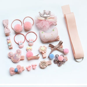 6-18pcs Children Cartoon Hair Clip Girl Gift Headwear Hairpin Hair Rope Accessories Hair Ring Circle Kid Lovely Rubber Band