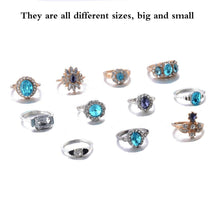 Load image into Gallery viewer, 5/6 / 11pcs / Set Exquisite Luxury Gold and Silver Jewelry Ring Sapphire Crystal Diamond Retro Fashion Accessory for Women's Ring