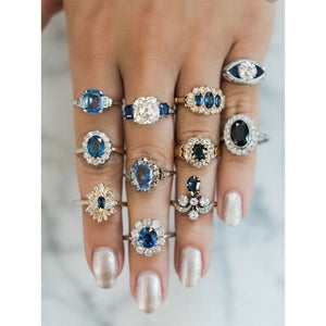 5/6 / 11pcs / Set Exquisite Luxury Gold and Silver Jewelry Ring Sapphire Crystal Diamond Retro Fashion Accessory for Women's Ring