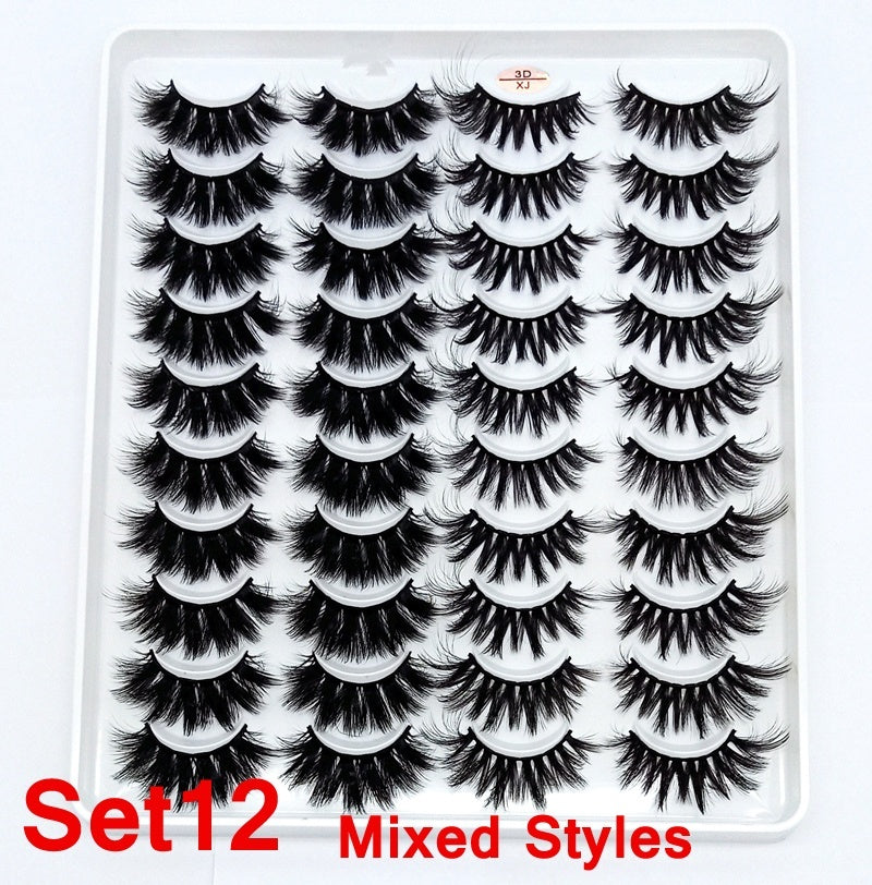 20 Pairs Eye Makeup Tools Natural Long Wispy Fluffy Handmade False Eyelashes 5D Mink Hair Eye Lashes Extension Thick Cross