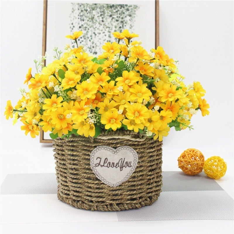 One Bouquet 7 Branch 28 Heads Cute Silk Daisy Artificial Decorative Flower Wedding Flower Bouquet Home Room Table Decoration