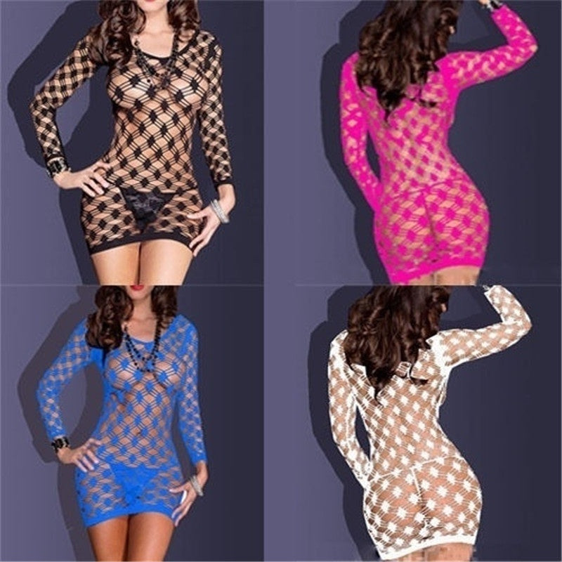Women Sexy Lingerie Fishnet Babydoll Mini Dress Set Underwear Body Stocking
