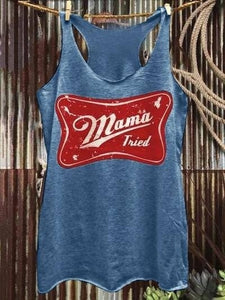 Summer New Women Fashion Graphic Print Racerback Sleeveless Tops Mama Tried Country Western Plus Size Tank Top