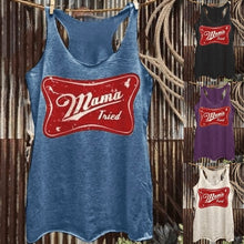 Load image into Gallery viewer, Summer New Women Fashion Graphic Print Racerback Sleeveless Tops Mama Tried Country Western Plus Size Tank Top