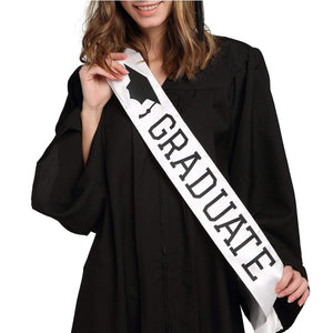 2020 Graduate White Boy Girl Unisex Satin Sash High School College Graduation Party Decoration Gift Supplies Photo Booth Props