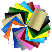 Load image into Gallery viewer, HOHOFILM Adhesive Backed Vinyl 24 Pack-30cmx21cm  Assorted Colors Adhesive Craft Vinyl Compatiable with Craft Cutters Glossy Adhesive Sheet for Decals Sticker