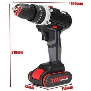 2020 High Quality 5200mAh Battery 2-Speed 36V Cordless Impact Drill Electric Screwdriver Hammer 25~28Nm 10mm Chuck LED Working Light Rechargeable Power Tools for Impact Drilling, Flat Drilling and Turning Screws