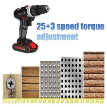 Load image into Gallery viewer, 2020 High Quality 5200mAh Battery 2-Speed 36V Cordless Impact Drill Electric Screwdriver Hammer 25~28Nm 10mm Chuck LED Working Light Rechargeable Power Tools for Impact Drilling, Flat Drilling and Turning Screws