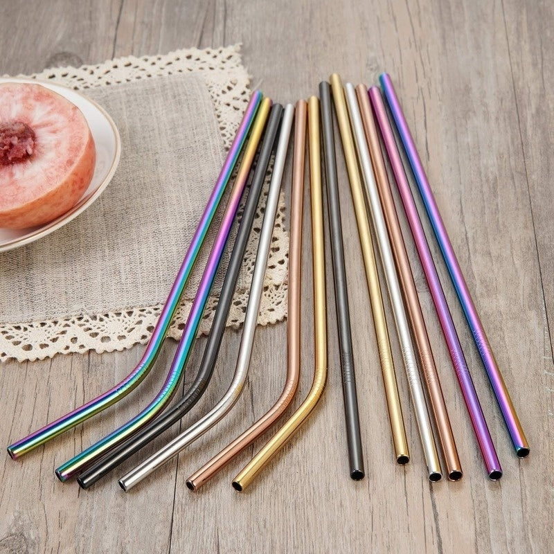 Multicolor Colorful Stainless Steel Straws Reusable Drinking Straws with Cleaner Brush and Silicone Tips Covers Kit for Tumbler Cold Beverage