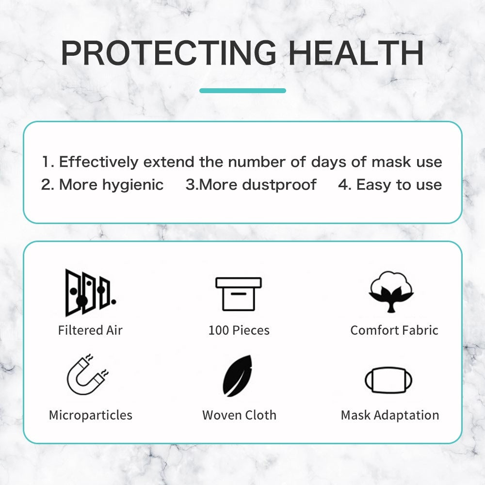 100Pcs Disposable Mask Filter Safety Flu Medical Mask Pad Protective Replacement Mat Square Cotton Pad