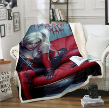 Load image into Gallery viewer, Sofa Bed Blanket Super Soft Warm Harley Quinn 3D Print Blanket Cover Fleece Throw Blanket G06