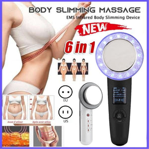 Weight Loss Device Ultrasound Cavitation EMS Body Slimming Facial Massager 6-IN-1/3-IN-1 Weight Loss Anti Cellulite Fat Burner Galvanic Infrared Therapy Body Slimming Machine(Black/White)