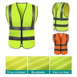 New M-XL High Visibility Safety Vest with Zipper Reflective Jacket Security Waistcoat Security Reflective Vest
