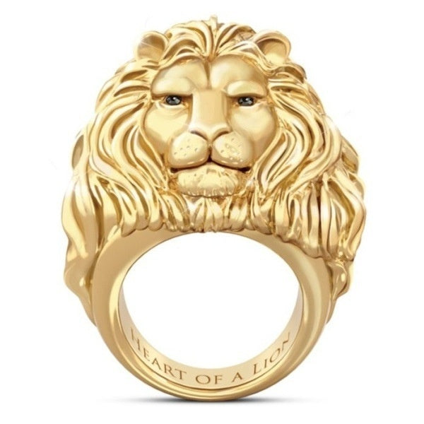 HEART OF A LION Men 18k Gold Lion Head Ring Gold and Silver Hip-Hop African Lion Rings