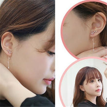 Load image into Gallery viewer, 925 Sterling Silver Pear Cut Stylist Crystal Earrings Drop Dangle Rose Gold Earrings Ear Stud For Women Wedding Earring (Color: Silver / Rose Gold )