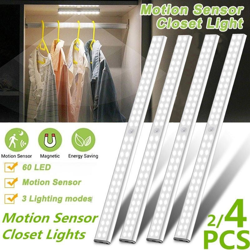 4pcs 60/20/14/10 LED  New Upgrade Motion Sensor Closet Lights, Cordless Under Cabinet Lightening, Stick-on Anywhere Wireless Rechargeable Energy Saving LED Night Light Bar, Safe Lights for Closet Cabinet Wardrobe Stairs