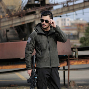 Military Man Fleece Tactical Jacket  Outdoor Polartec Thermal Breathable Sport Hiking Polar Jacket