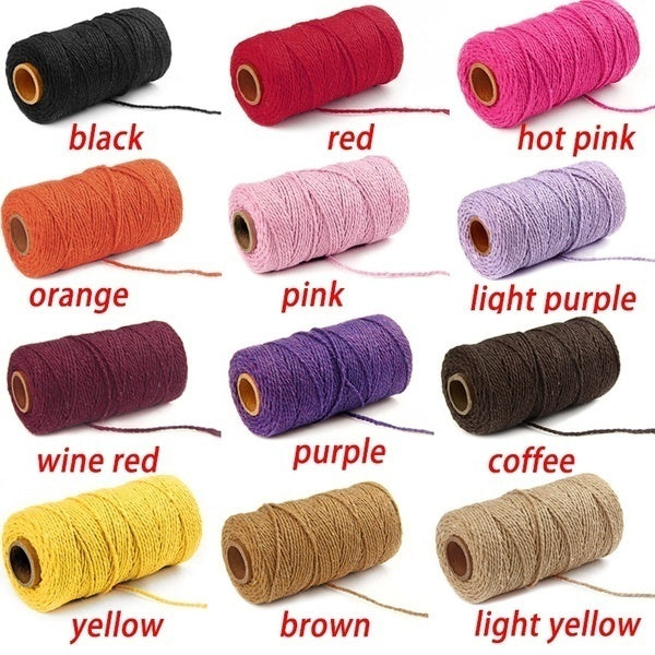 100m Long/100Yard 2mm Pure Cotton Twisted Cord Rope Crafts Macrame String 19 Colors