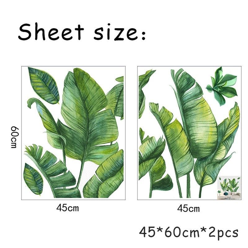3D Vivid Palm Tree Leaves Wall Stickers Green Plant Wallpaper Diy Wall Applique Art Decals For Home Living Room Bedroom Decoration
