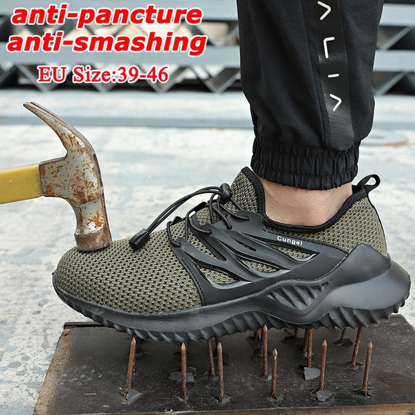 2020 New Men's Fashion Safety Shoes Anti-Smashing Work Shoes Steel Toe Anti-Pancture Breathable Work Boots Hiking Climbing Shoes Size:39-46