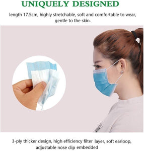 100/50/20/10 PCS Disposable Medical Face Mask - Thick 3Ply Medical Masks with Comfortable Earloop, Great for Dust, Germ and Virus Protection and Personal Health (White/Blue)