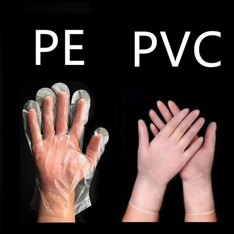 High Quality 100PCS Disposable PVC Rubber Powder-free Transparent Gloves Thick Protective Gloves