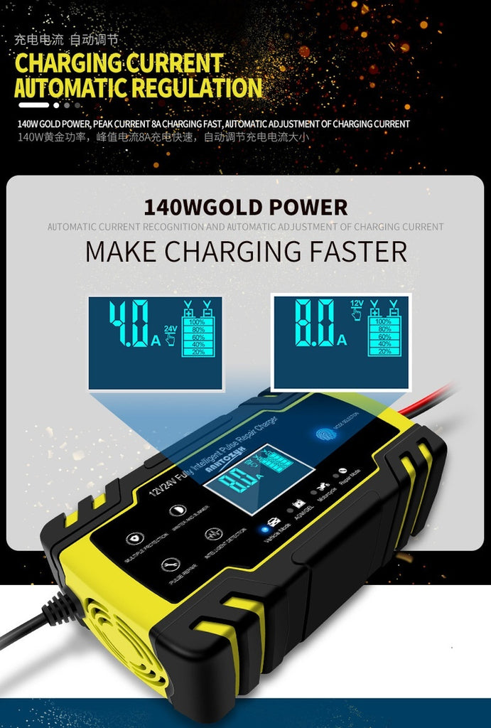 (Limited Time Offer) 12V 8A 24V 4A Touch Switch Screen Pulse Repair LCD Battery Charger for Car / Motorcycle / Leaded Vehicle / Truck AGM / GEL / Lead Acid
