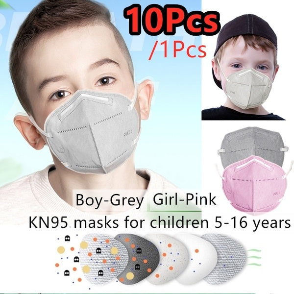 10 / 1PCS K N95 Child Mask Anti-drip Mask Safety PM2.5 Anti-fog Breathing Mask Dust-proof Breathing Mask Suitable for Children Aged 5-16 To Speed Up Transportation