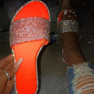 Women New Flat Rhinestone Shiny Sandals Solid Color Casual Beach Flip Flops Slide Flash Bling Bling Slippers