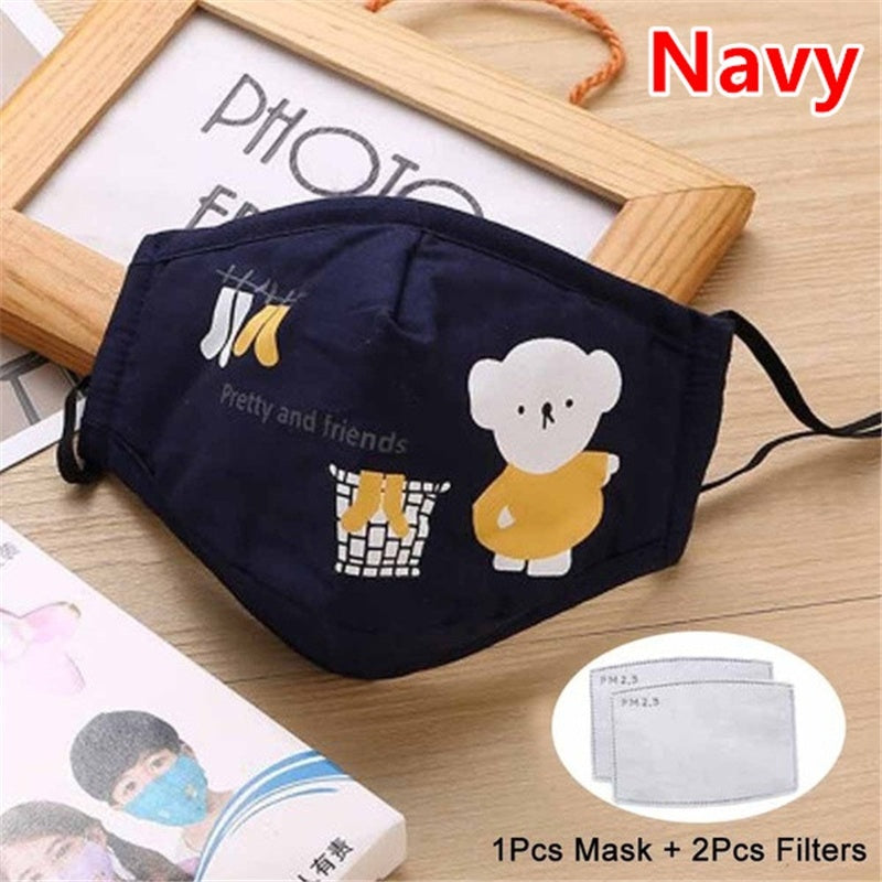1 Pcs Kids Masks Anti Dust Face Mouth Mask Reusable Breathable Cotton Mask Cute Cartoon Protective Children Kid Face Mask