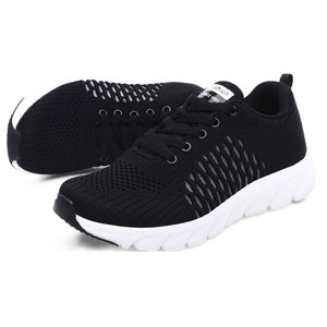 Women Lace Up Sneaker Light Weight Soft Flying Woven Shoes for Women Outdoor Sport