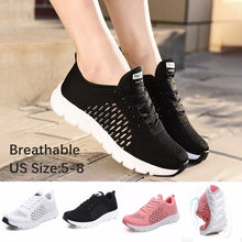 Load image into Gallery viewer, Women Lace Up Sneaker Light Weight Soft Flying Woven Shoes for Women Outdoor Sport