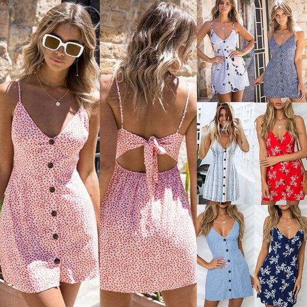 7 Colors Woman's New Summer Women Stretchy Camisole Spaghetti Strap Long Tank Top Slip Mini Dress Fashion Sleeveless Backless Low Cut Top Camisole Dress Beach Dress 7 Color