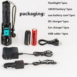2020 New Led 98000000LM Torch Phone Usb Charging Flashlight Linternas/ Lampe Torch + Charger + Rechargeable Battery
